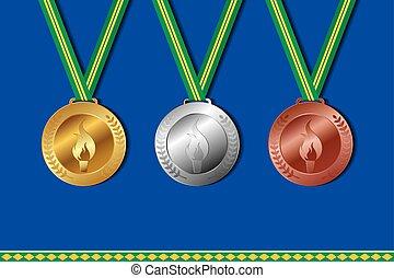 állhatatos, közül, nyertes, medals, noha, befest, közül, brazília, ribbon., vektor, illustration.
