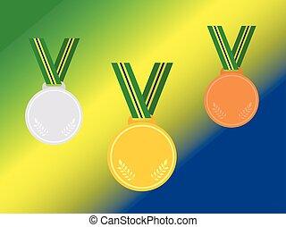 állhatatos, közül, nyertes, medals, noha, brazília, szalag, elszigetelt, képben látható, flag.flat, style.