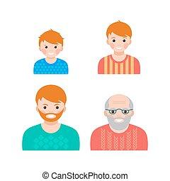 állhatatos, közül, portaraits, kiállítás, a, eljárás, közül, öregedő, alapján, gyermek, fordíts, idősebb ember