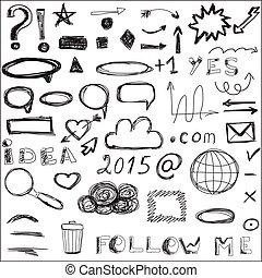 állhatatos, közül, sketched, társadalmi, és, digitális, icons.
