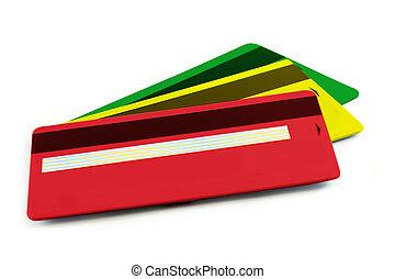 állhatatos, közül, színes, hitel kártya, elszigetelt, háttér