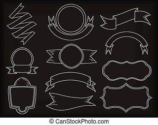 állhatatos, közül, szalag lobogó, alatt, chalkboard