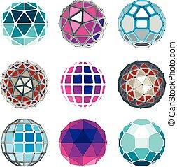 állhatatos, közül, vektor, alacsony, poly, gömbölyű, kifogásol, noha, összekapcsolt, megtölt tarkít, 3, geometriai, wireframe, shapes., kilátás, trigonometria, csiszolt felület, égitestek, alkotott, noha, háromszögek, blokkok, és, pentagons.