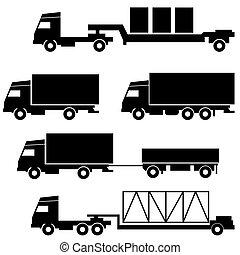 állhatatos, közül, vektor, ikonok, -, szállítás, jelkép