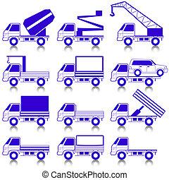 állhatatos, közül, vektor, ikonok, -, szállítás, symbols.