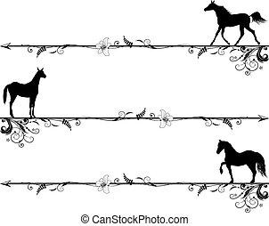állhatatos, közül, vignettes, noha, lovak