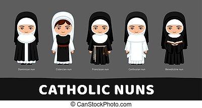 állhatatos, karikatúra, benedictines, nuns., franciscans, katolikus, cistercians, characters., dominicans., carthusians