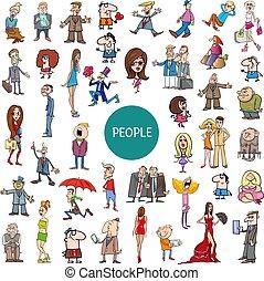 állhatatos, karikatúra, betűk, emberek