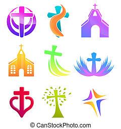 állhatatos, karikatúra, ikonok, templom, mód