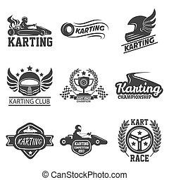 állhatatos, kart, ikonok, klub, karting, lóverseny, vektor, sablon, sport, vagy