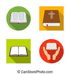 állhatatos, keresztény, illustration., jámbor, bitmap, könyv, tervezés, icon., részvény