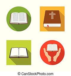 állhatatos, keresztény, illustration., jámbor, vektor, tervezés, icon., könyv, részvény