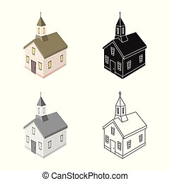 állhatatos, keresztény, illustration., templom, ábra, vektor, templomtorony, icon., részvény