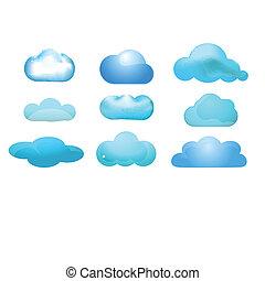 állhatatos, kiszámít, concept), sima, printcloud, 9, ikon, (cloud