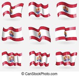 állhatatos, levegő., polinézia, vektor, zászlók, francia
