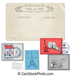 állhatatos, levelezőlap, szüret, -, franciaország, párizs, topog, vektor