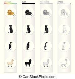 állhatatos, llama., monochrom, különböző, ikonok, ragadozó, pingvin, fekete, állat, madár, részvény, párduc, jelkép, web., mód, gyűjtés, ábra, karikatúra, áttekintés, oroszlán, vektor, vad, kinds