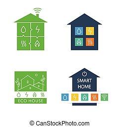 állhatatos, logos., house., vektor, eco-friendly, sablon, otthon, furfangos