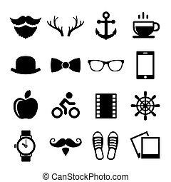 állhatatos, logos., ikonok, szüret, vektor, csípőre szabott