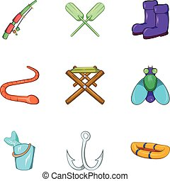 állhatatos, mód, ikonok, karikatúra, halászat