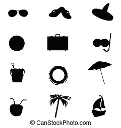 állhatatos, művészet, ábra, vektor, tengerpart, ikon