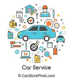 állhatatos, művészet, fenntartás, szolgáltatás, ikonok, autó, autó, vektor, híg, szerelő, jármű, egyenes, eszközök