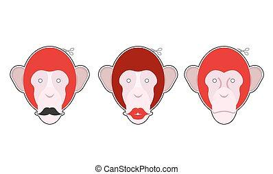 állhatatos, majom, nagy, érsekség, maszk, gyűjtés, holiday., monkey:, maszk, év, új, moustache., karácsony, piros, lips.