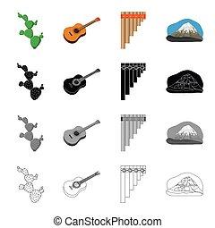 állhatatos, mexikói, mexikó, monochrom, mountain., mód, ikonok, gitár, eszköz, fekete, kaktusz, lábas, részvény, furulya, jelkép, web., ábra, gyűjtés, karikatúra, áttekintés, ország, vektor, felteker
