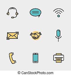 állhatatos, mobile kommunikáció, icons., vektor, érintkezés, egyenes