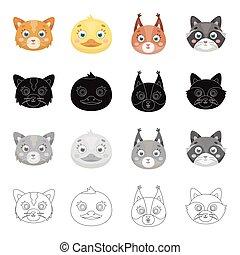 állhatatos, monochrom, fajok, csőtorkolat, csőtorkolat, mód, ikonok, karikatúra, tenisznadrág, állat, fekete, részvény, jelkép, web., különböző, ábra, állatok, gyűjtés, raccoons., mókusok, áttekintés, macska, vektor