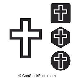 állhatatos, monochrom, keresztény, kereszt, ikon