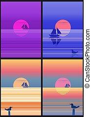 állhatatos, nap, vitorlás hajó, szín, színhely, táj, felkelés, tenger, csónakázik, kék, napkelte, sablon, hegyek, lesiklik, háttér, minimalistic, illustration., sziklás, vitorlázás, sky., kilátás a tengerre, óceán, vektor, kártya, vagy, sunset.