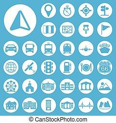 állhatatos, navigáció, ikonok
