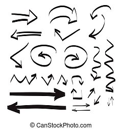 állhatatos, nyílvesszö, ábra, kéz, vektor, húzott, ikon