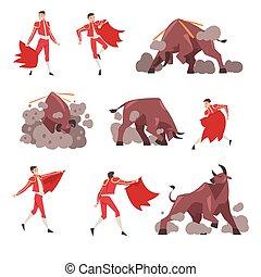 állhatatos, picador, karikatúra, bika, öltözött, hagyományos, betű, spanyol, támadó, előadás, jelmez, corrida, ábra, torreádor, vektor, mód, bikaviador