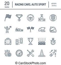 állhatatos, pictogram, útvonal, autó, ütés, cégtábla, sport, gyorsaság, sisak, dámajáték, wheel., -, zászlók, versenyzés, bolt, bajnokság, lineáris, autó, editable, icons., rajongó, egyenes, kormányzó, esemény, autó, versenyfutó, vektor