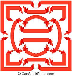 állhatatos, piros, gyeplő, és, szalagcímek, vektor, ábra