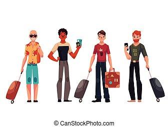 állhatatos, poggyász, bőrönd, utazó, fiatal, hím, jelentékeny