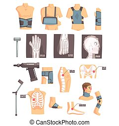 állhatatos, röntgensugarak, ikonok, orvosi, karikatúra, ...
