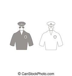 állhatatos, rendőrség, szürke, ikon