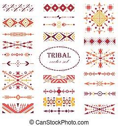 állhatatos, set., törzsi, vektor, ecset, etnikai, style., piros