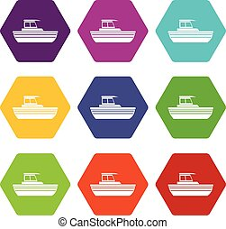 állhatatos, szín, hexahedron, autózik hajózik, ikon