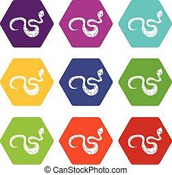 állhatatos, szín, hexahedron, black kígyó, ikon