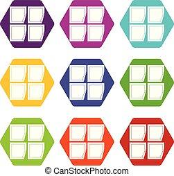 állhatatos, szín, hexahedron, fekete, böllér, ikon