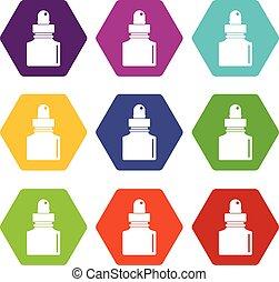 állhatatos, szín, hexahedron, inkwell, fekete, ikon