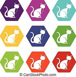 állhatatos, szín, hexahedron, macska, fekete, ikon