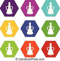 állhatatos, szín, hexahedron, olaj, palack, olajbogyó, ikon