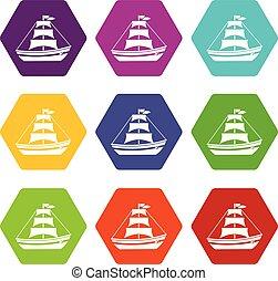 állhatatos, szín, hexahedron, vitorlázik, csónakázik, ikon