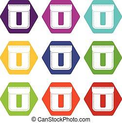 állhatatos, szín, hexahedron, zseb, fekete, ikon