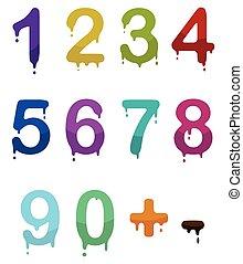 állhatatos, szín, számok, csepp